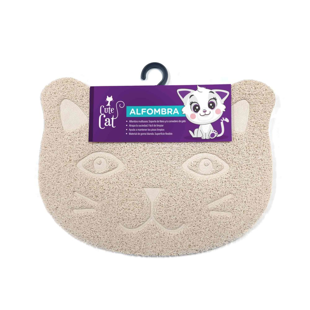 CUTE CAT ALFOMBRA BEIGE GATO